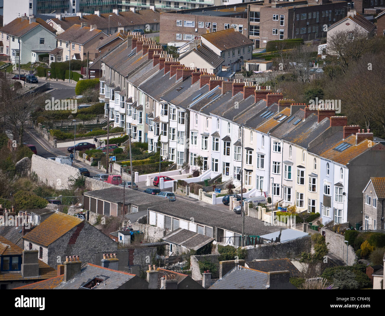 View over rooftops in the village of Fortuneswell, the gateway to the Isle of Portland. - Stock Image