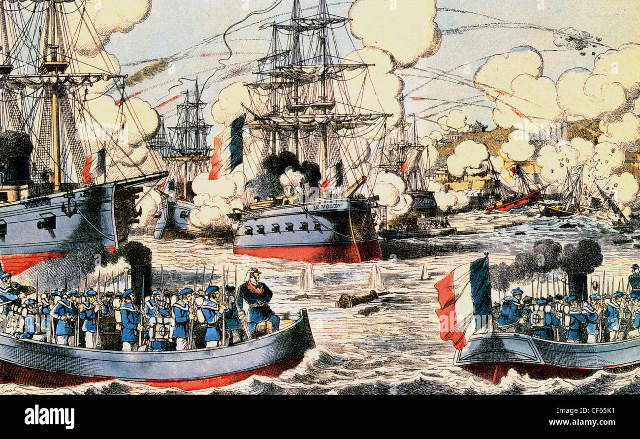 BATTLE OF FUCHOU August 1844 French warships attack the Chinese navy in a campaign to force the Chinese to give - Stock Image