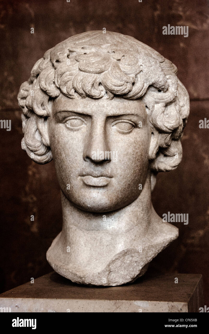 Antinous 111 – 130 AD Bithynian youth and the favourite of the Roman emperor Hadrian Roman Rome Italy Italian - Stock Image