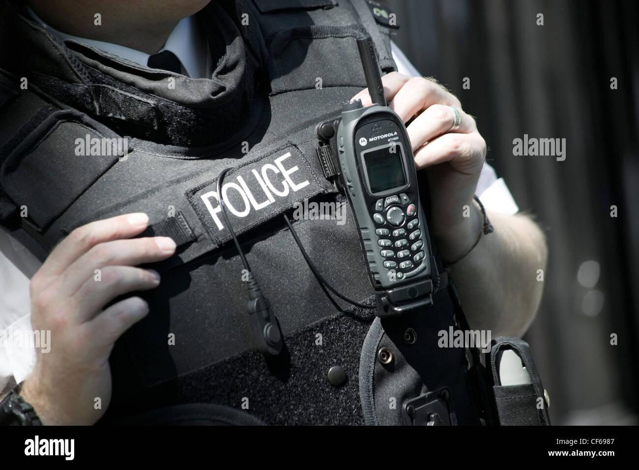 Detail of Metropolitan Police Constable's uniform. The Metropolitan police is London's biggest employer, - Stock Image