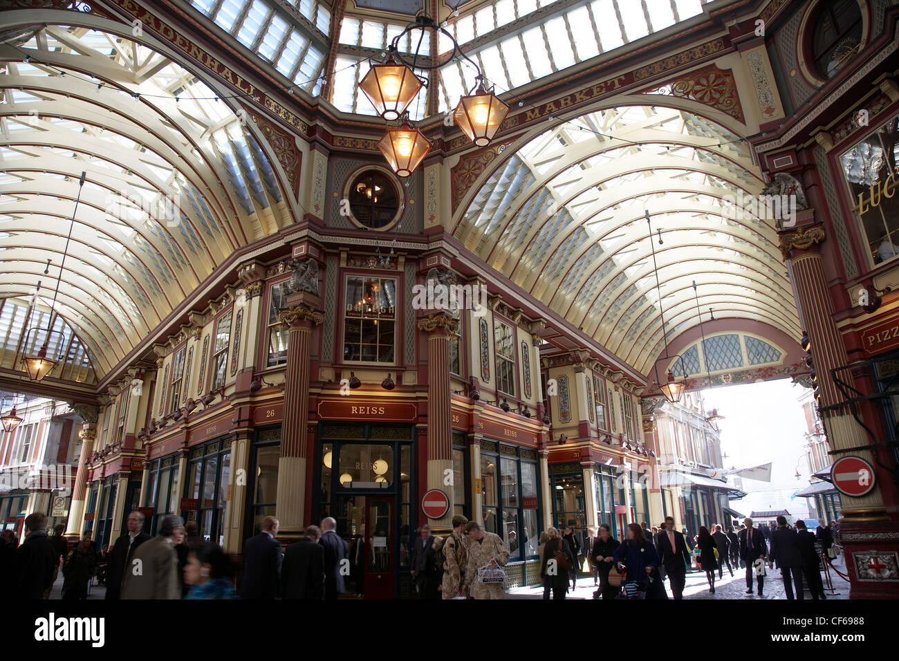 The vaulted ceiling of Leadenhall Market. The market was used to represent the area of London near The Leaky Cauldron - Stock Image