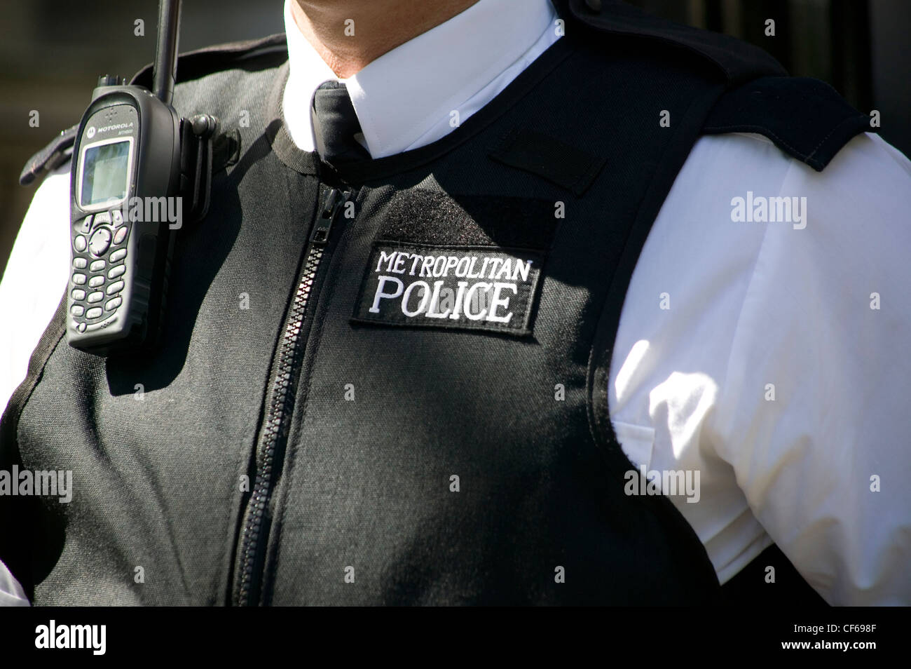 Detail of Metropolitan Police Constable's uniform. The Metropolitan police is London's biggest employer, with over Stock Photo