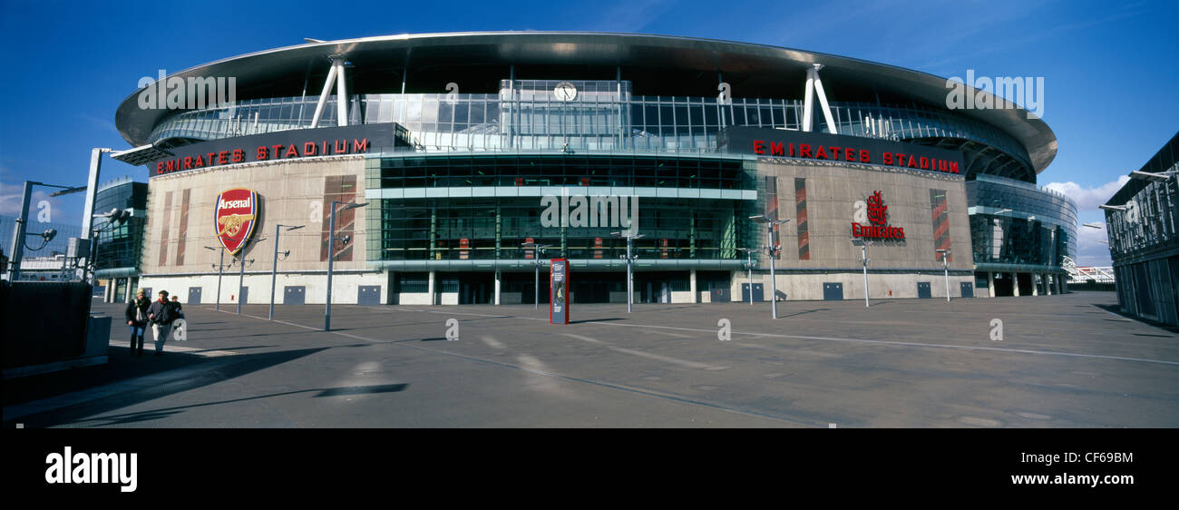Exterior view of the Emirates Stadium which is home to Arsenal Football Club. Opened in July 2006, the stadium was - Stock Image