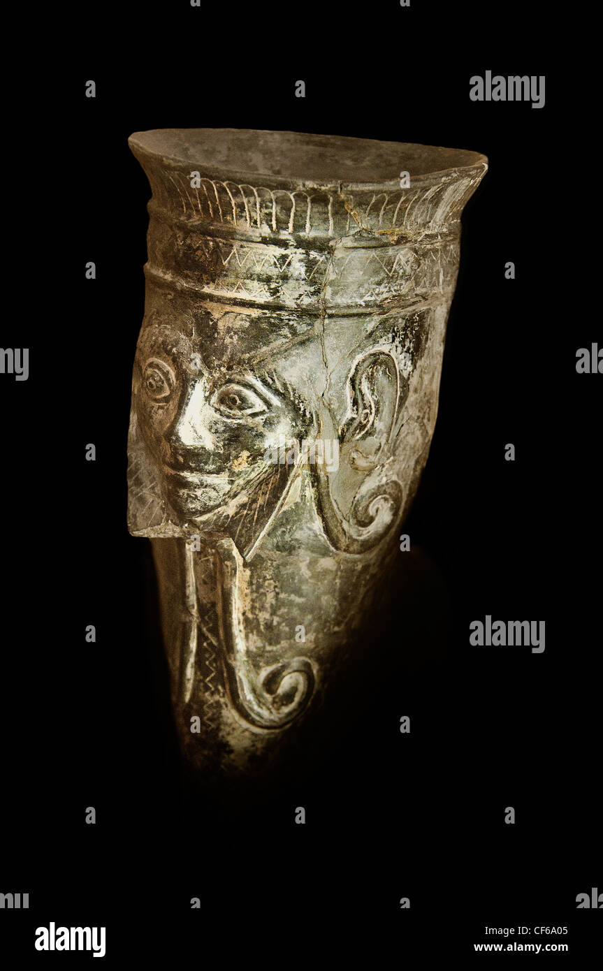 Winged female spirit woman figure krater 4th cent BC Etruscan Italy Italian - Stock Image