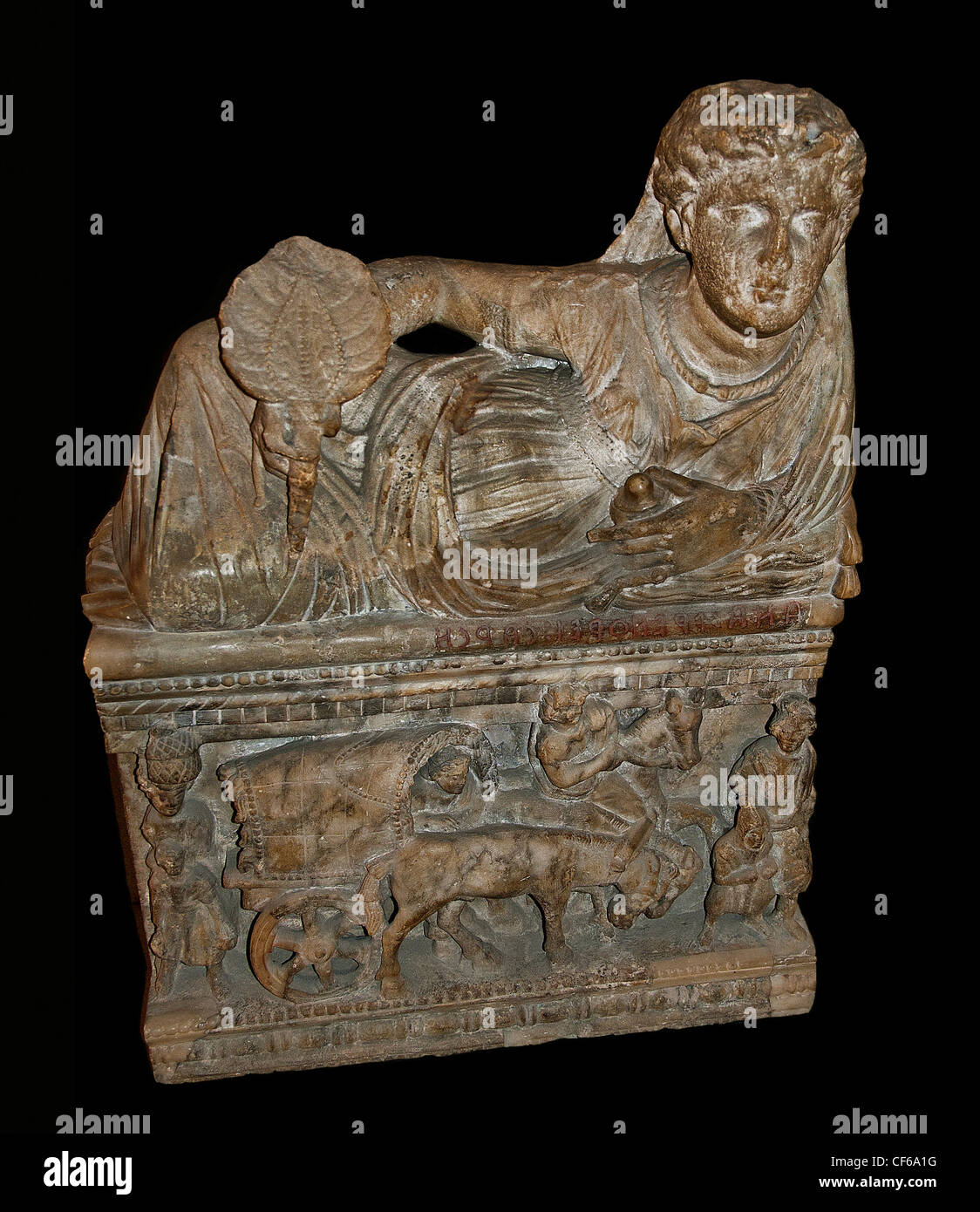 urn 2 century BC  Etruscan  Provenance Volterra Italy Tuscany - Stock Image