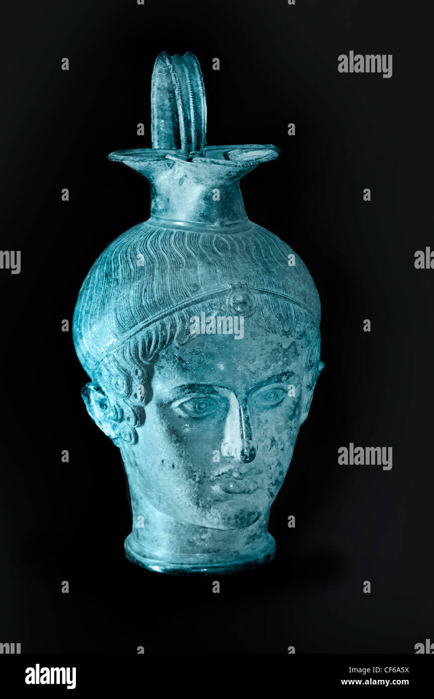 Perfume vase shaped female head bronze 3 Century BC Etruscan Italy - Stock Image