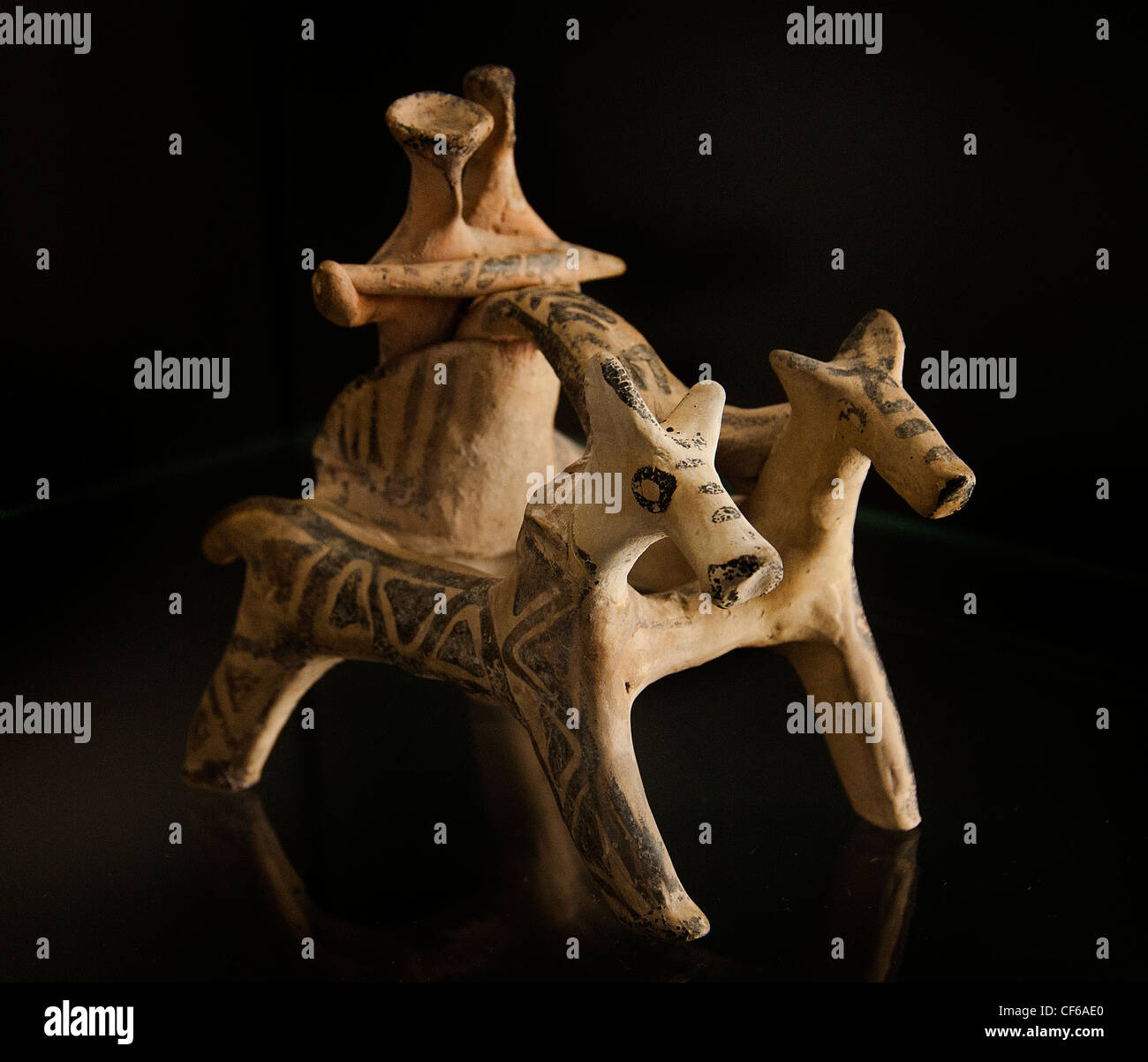Biga chariot driven by two horses Helladic III A - III B 1400 - 1200 BC Greek Greece obilier burial found in a burial - Stock Image