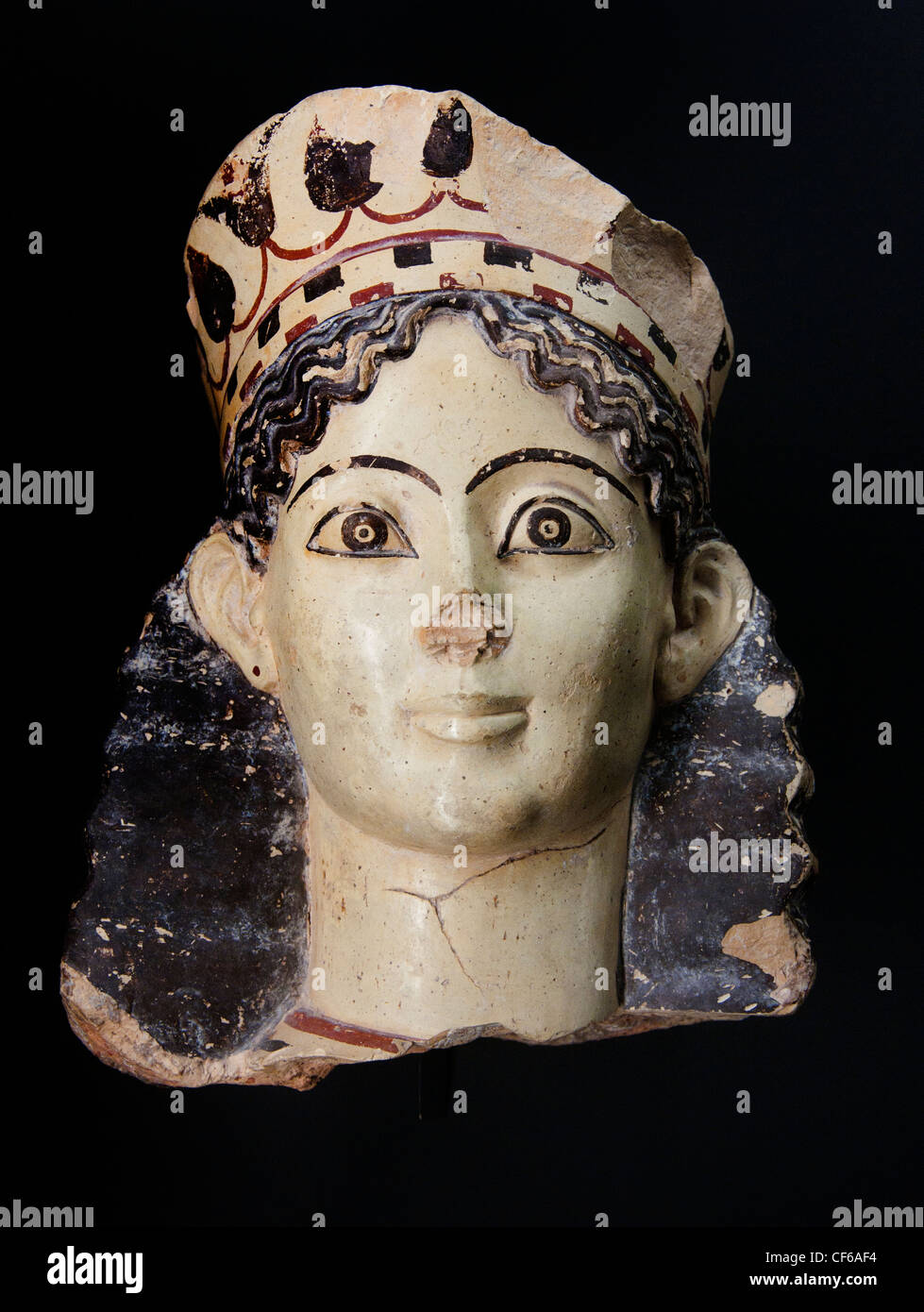 Parapet sphinx head and wing fragments 540-520 BC Provenance Thebes Greece Greek - Stock Image