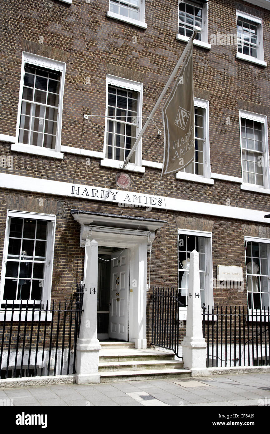 Exterior view of the Hardy Amies store at Saville Row in London. - Stock Image
