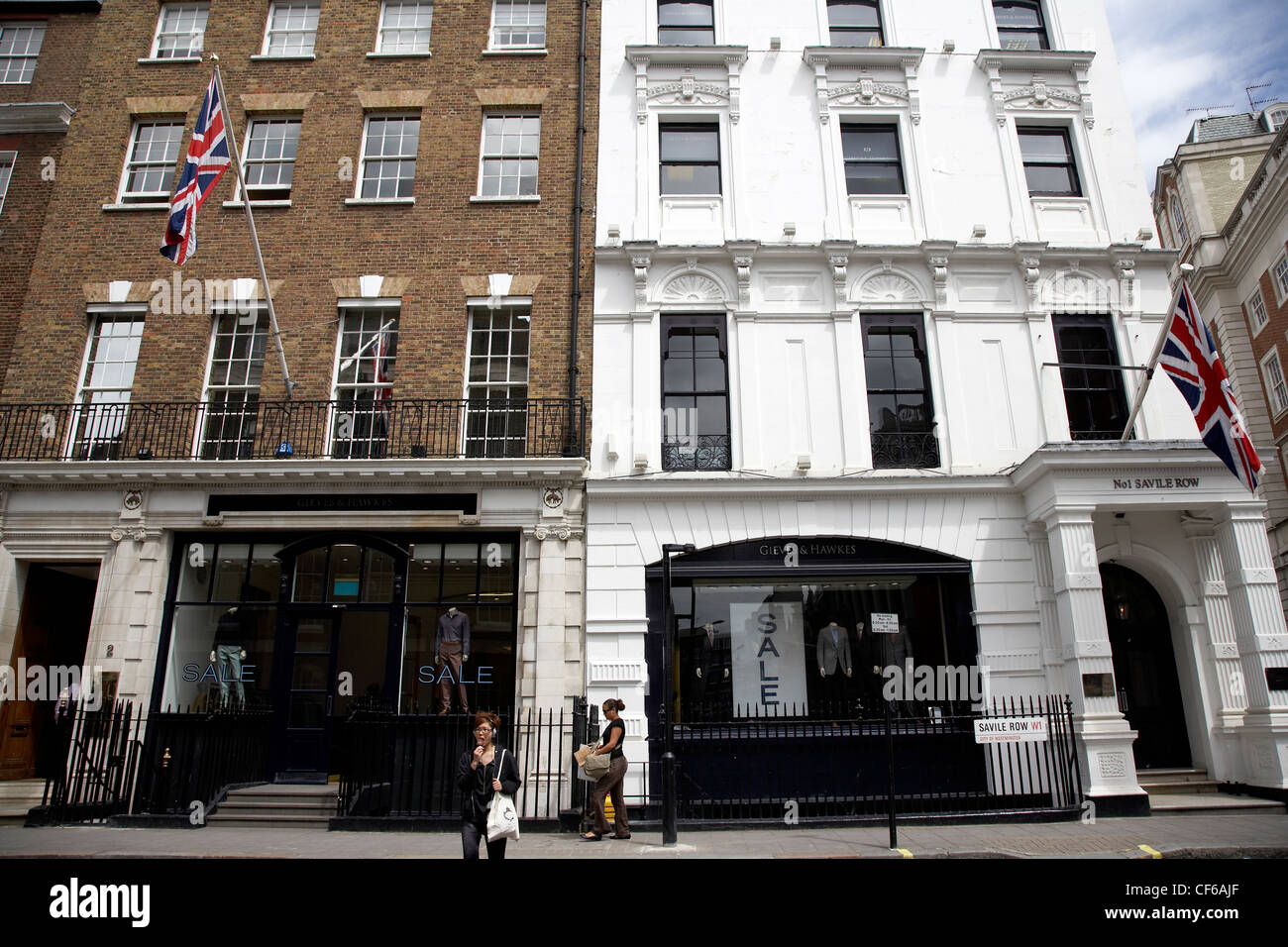 Exterior view of prestige shop fronts in Saville Row. - Stock Image