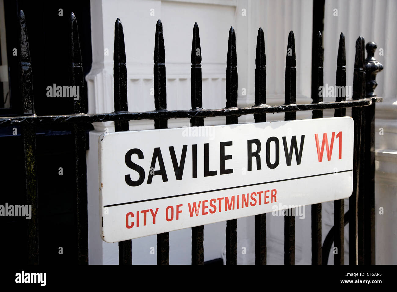A close up of a Saville Row street sign in the West End. - Stock Image