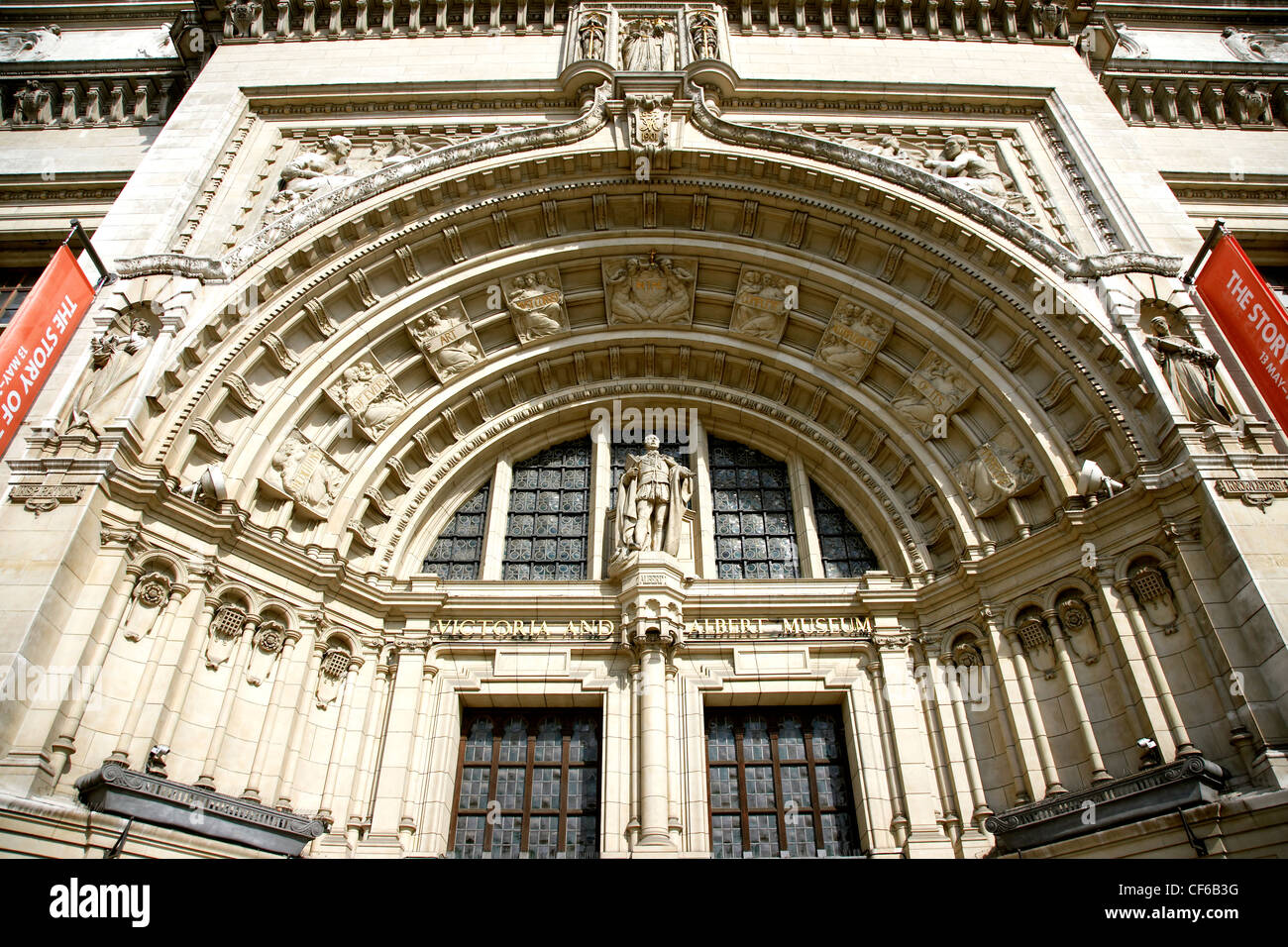 The arched doorway to The Victoria and Albert Museum in South Kensington. Stock Photo