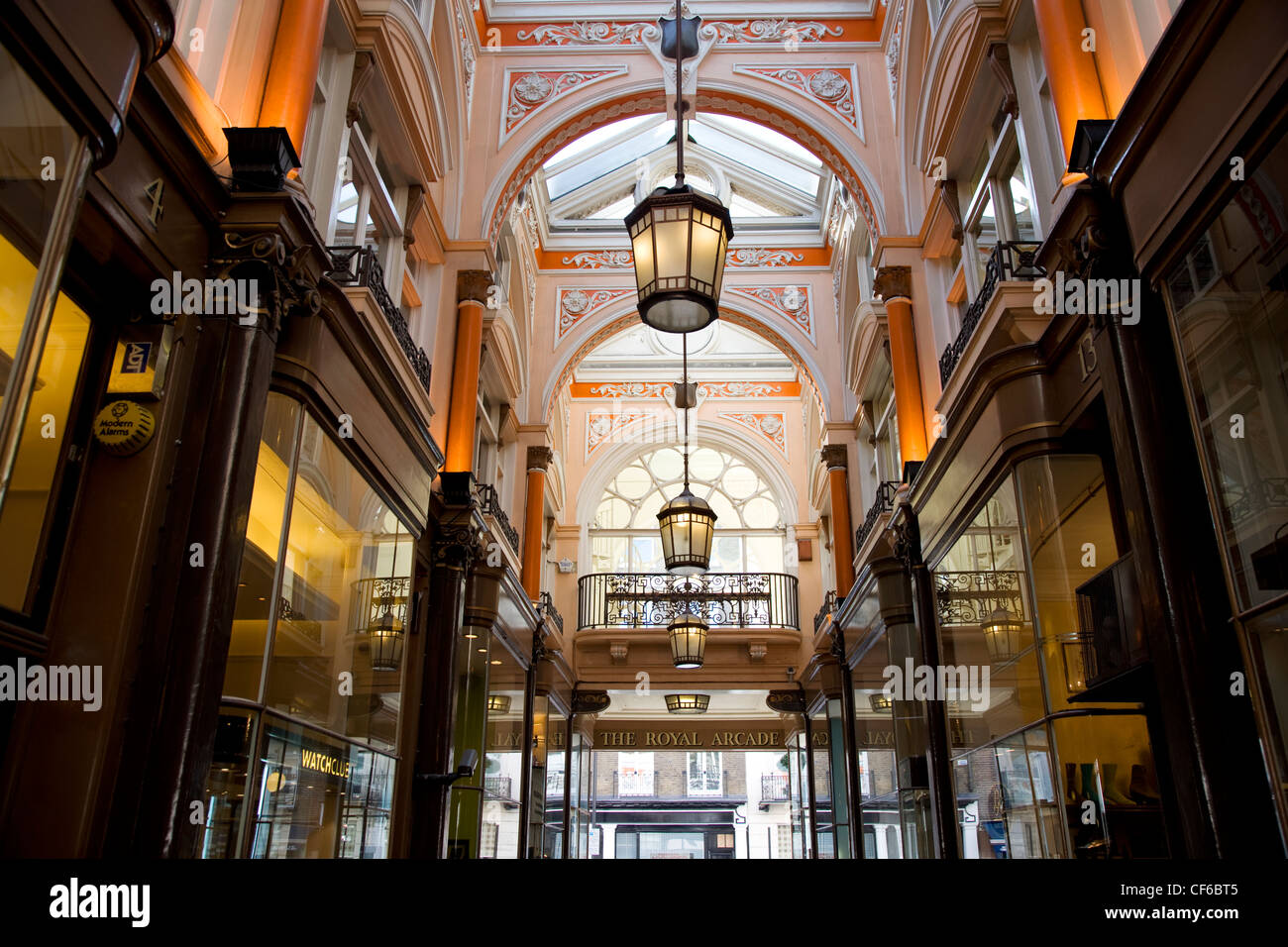 The elegant interior of the Royal Arcade shopping centre in Old Bond Street. - Stock Image