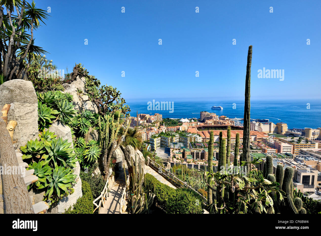 Exotic gardens, Monaco, France. - Stock Image