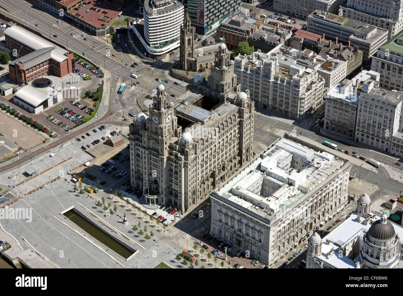 aerial view of Liverpool waterfront with Liver building - Stock Image
