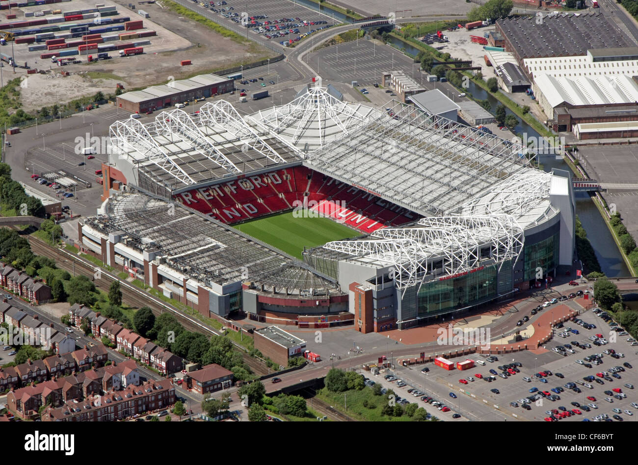 Aerial view of Manchester United FC Old Trafford Stadium - Stock Image