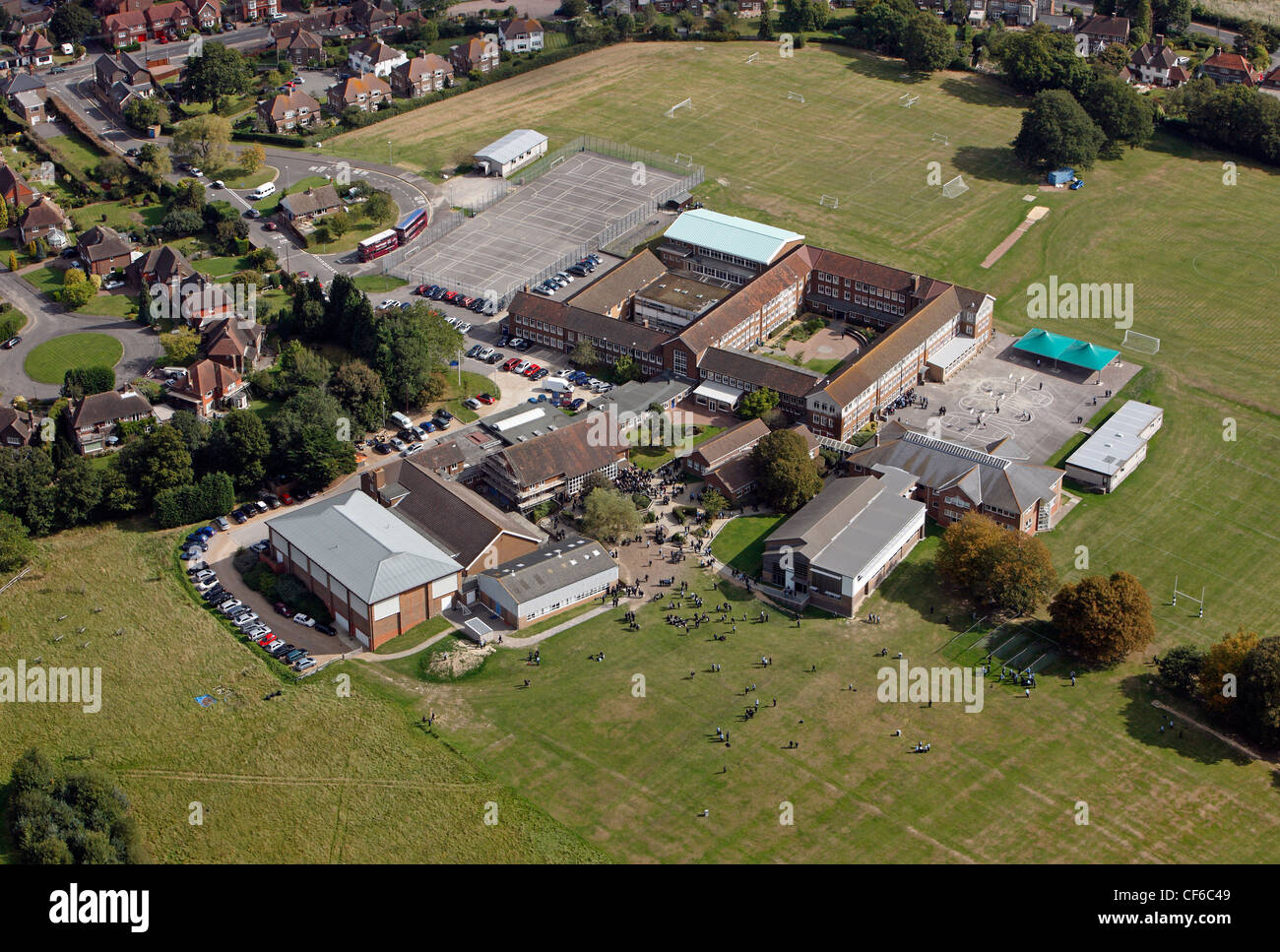Aerial view of a UK secondary school - Stock Image