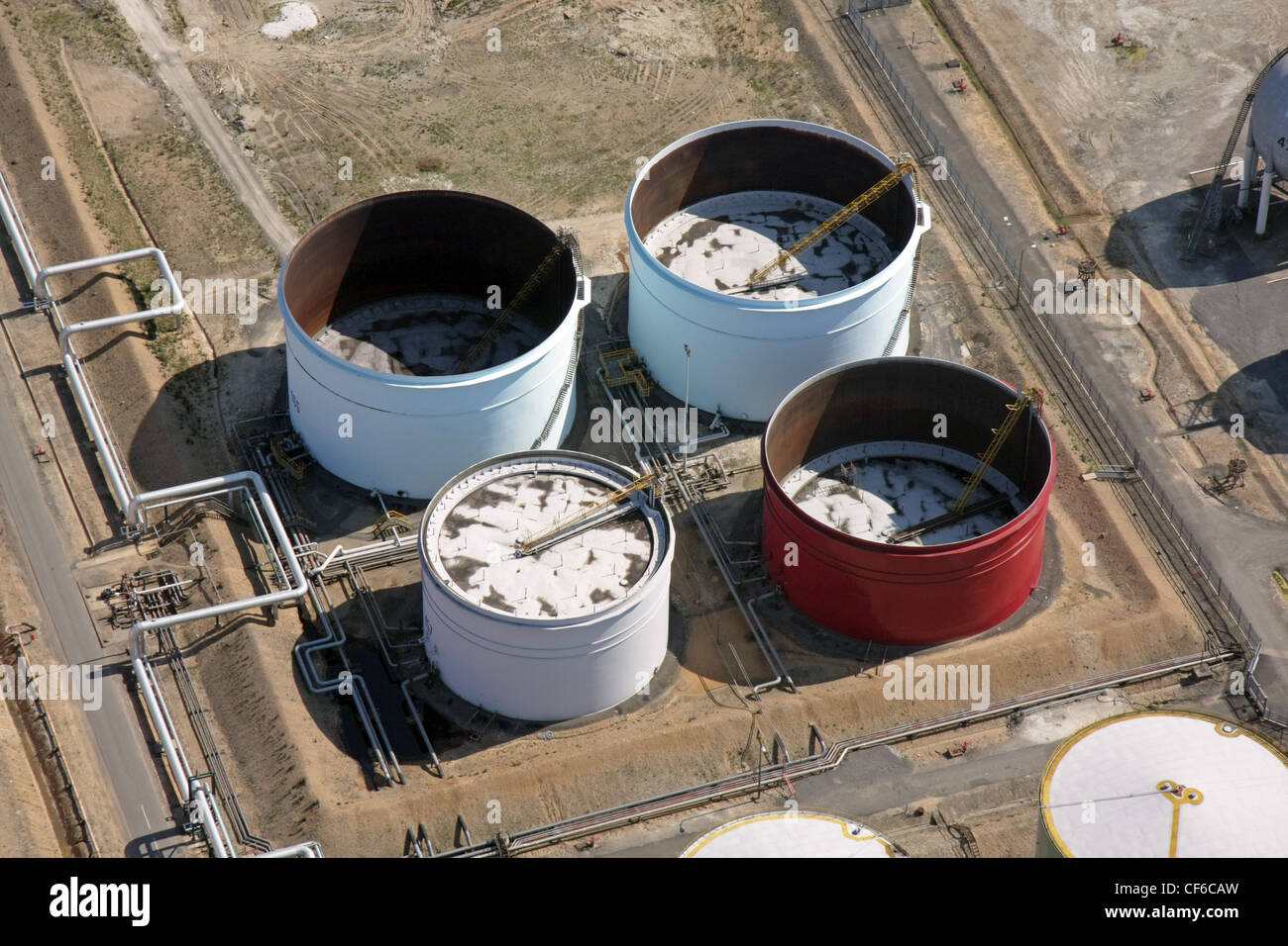 aerial view of petrochemical storage tanks - Stock Image