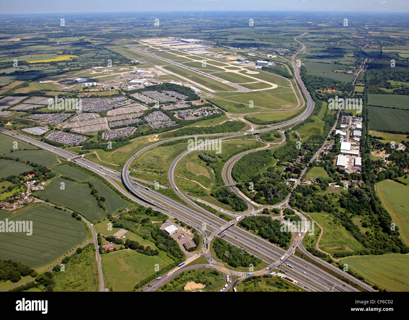 aerial view of Stansted airport in Essex with junction 8 of the M11 - Stock Image