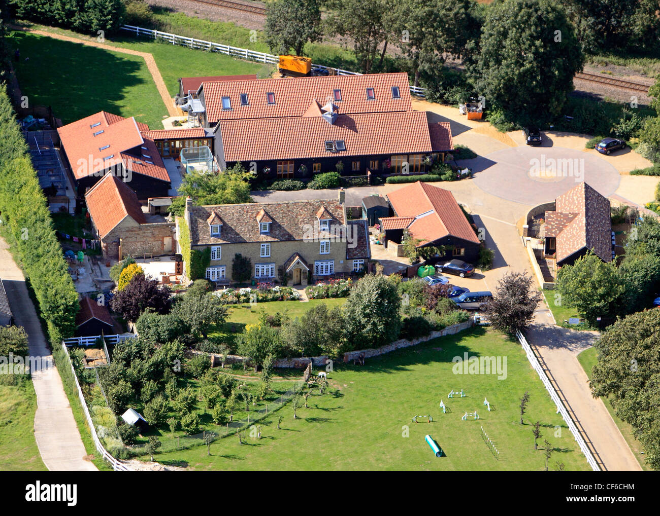 aerial view of a veterinary clinic in the country, a rural enterprise - Stock Image