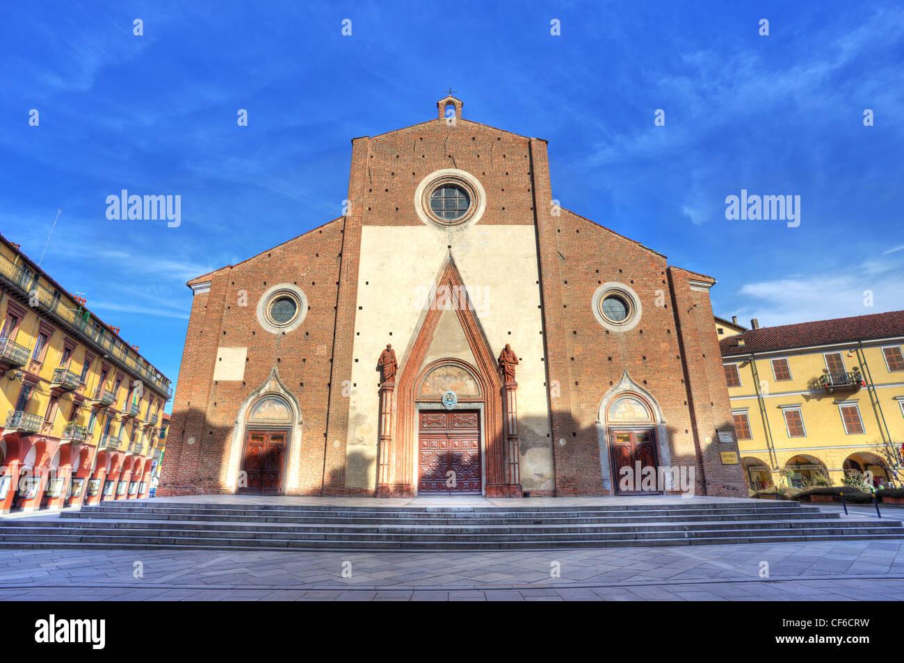 Facade view on Duomo di Saluzzo (Maria Vergine Assunta Church) in Saluzzo, Italy. - Stock Image