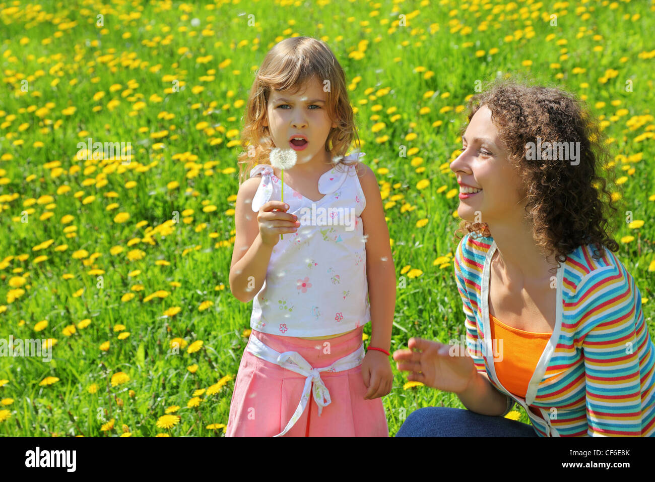 Mother plays with  girl which breath on  dandelion and  from it parachute fly - Stock Image
