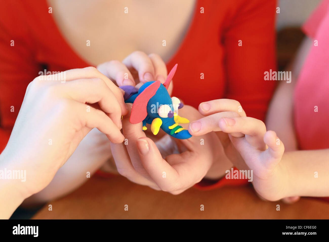 Modeling of home-made elephant from plasticine - Stock Image