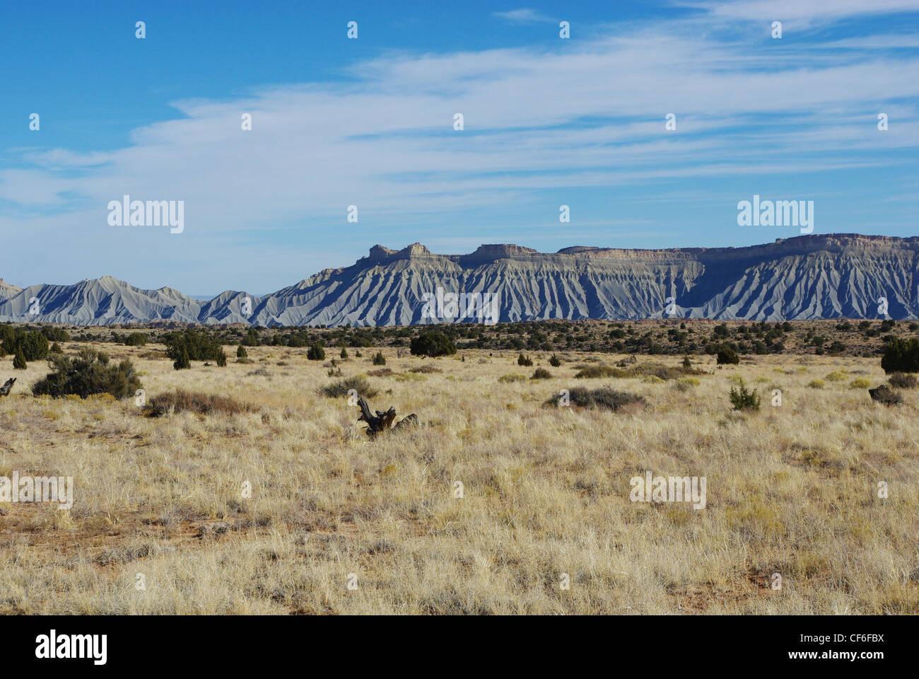 Desert and sandstone hills near Notom, Utah - Stock Image