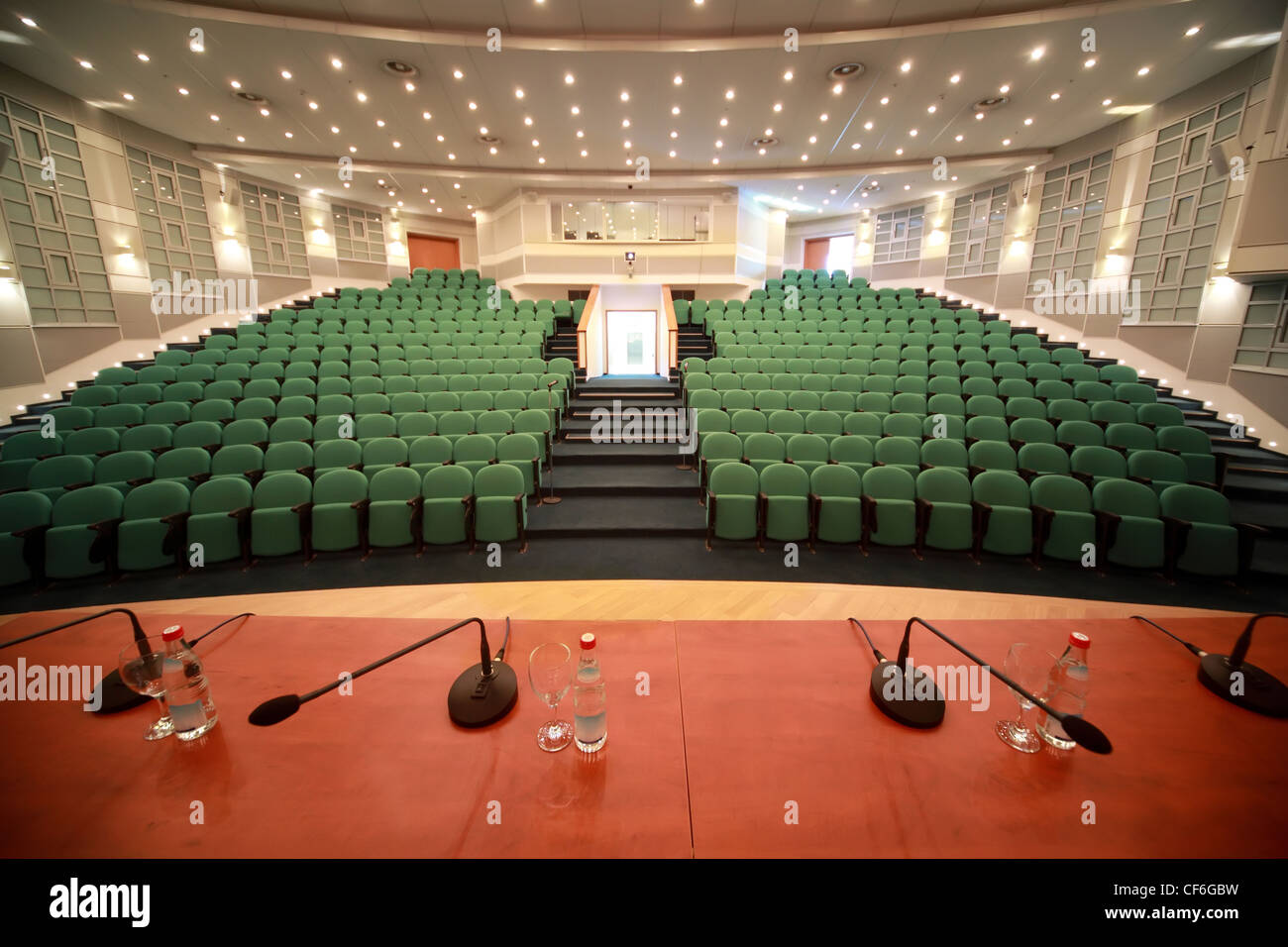 Interior and front entrance in  big conference room. Kind from  scene. - Stock Image