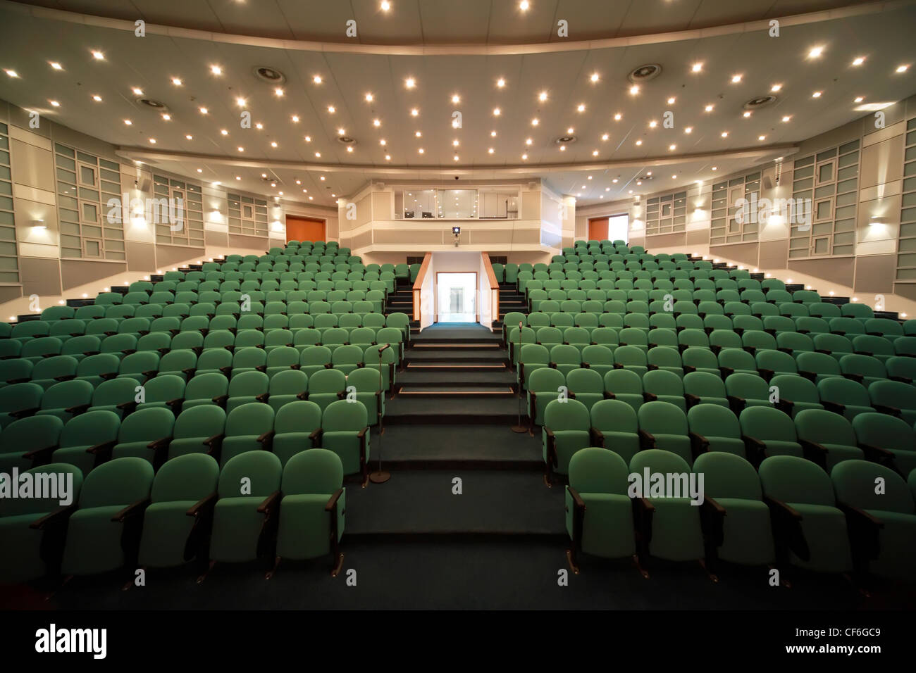 Interior and open front entrance in  conference room.  Front view. - Stock Image
