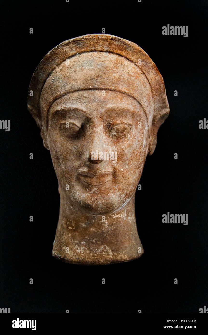 protome female head  600-490 BC Greek Greece - Stock Image