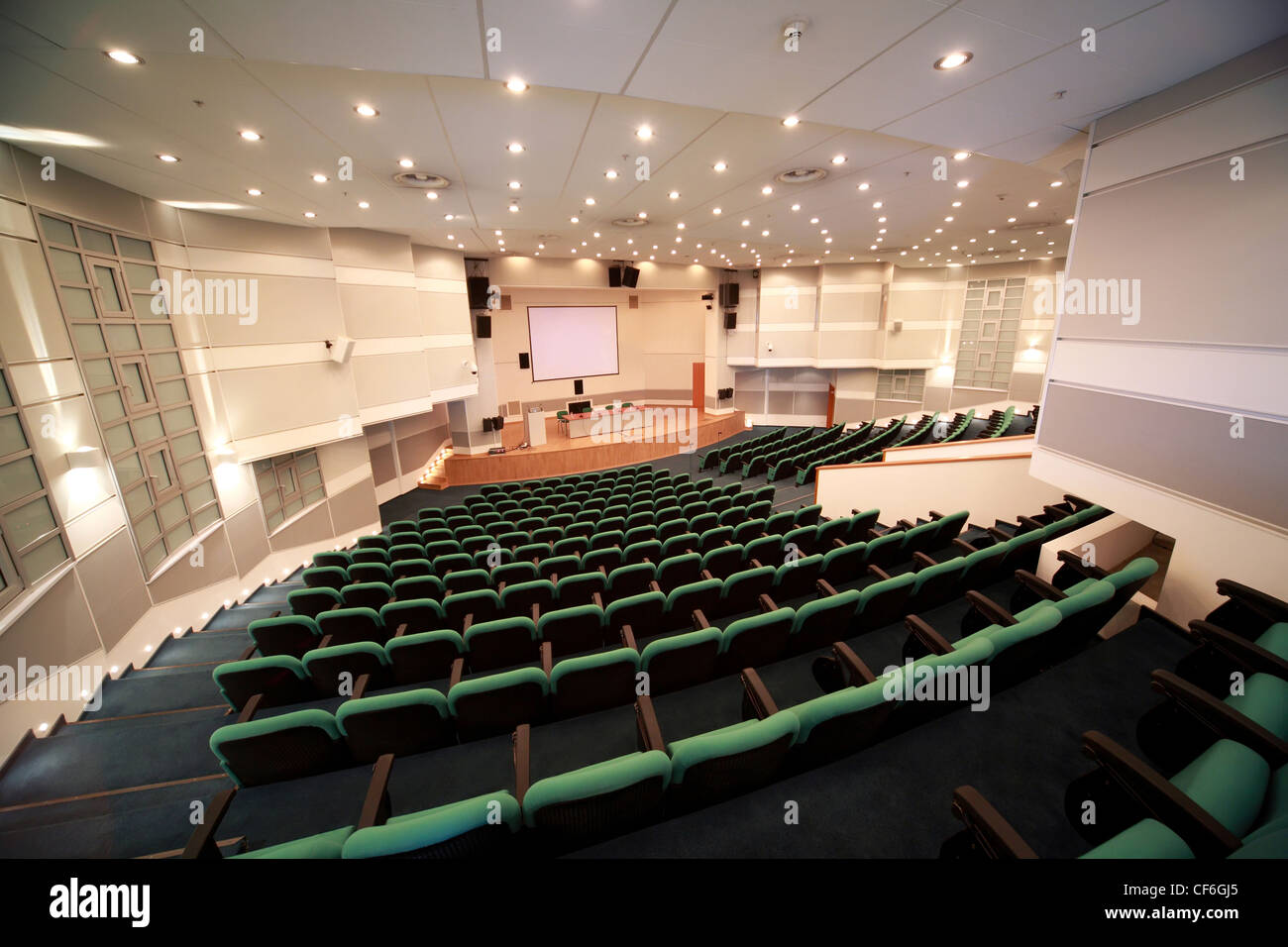 Interior of  conference hall and scene registration. View from apart from  spare input. - Stock Image
