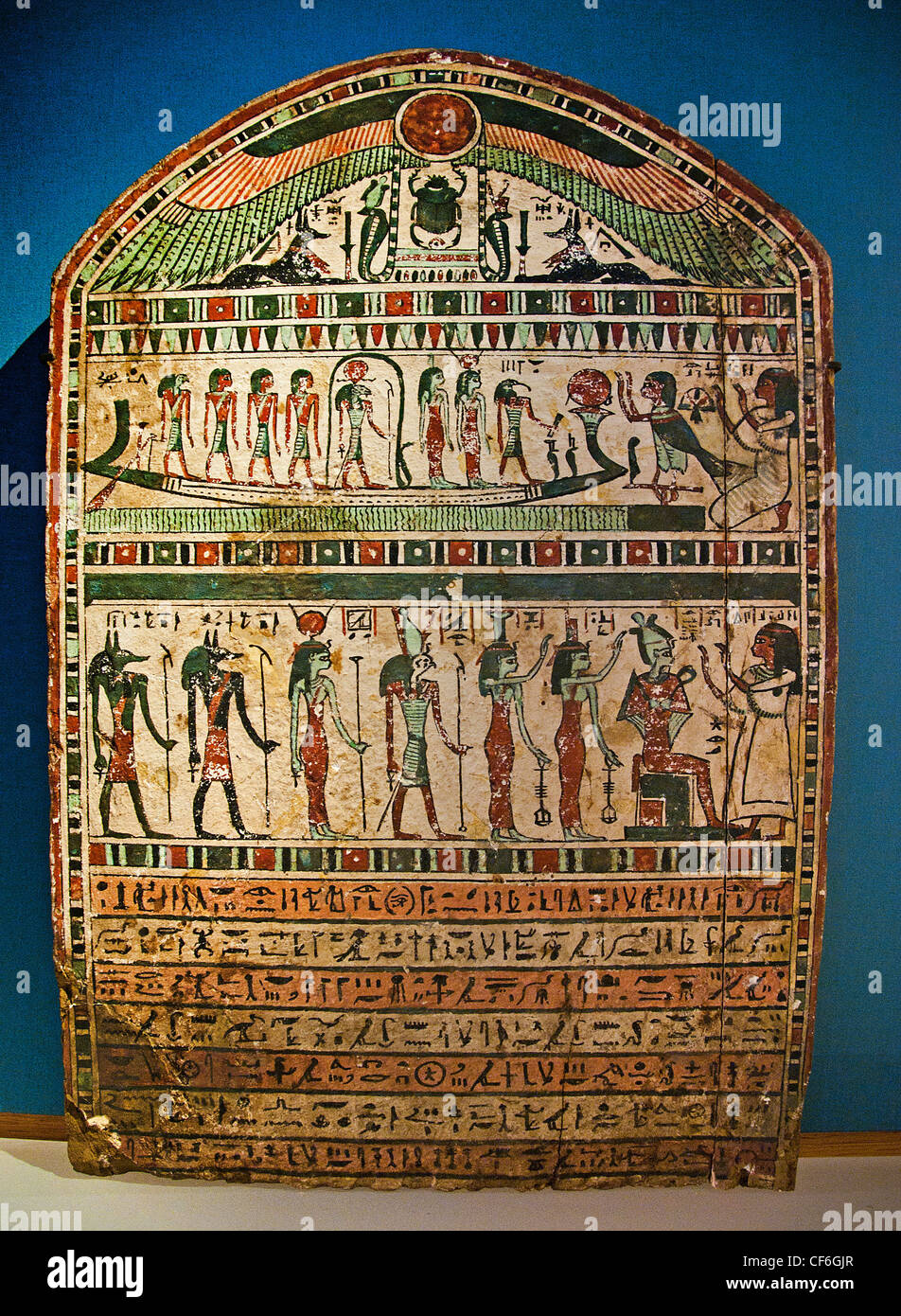 Tombstone of Disiset, musician of Amun-Re  250-200 BC painted wood Egypt Egyptian - Stock Image
