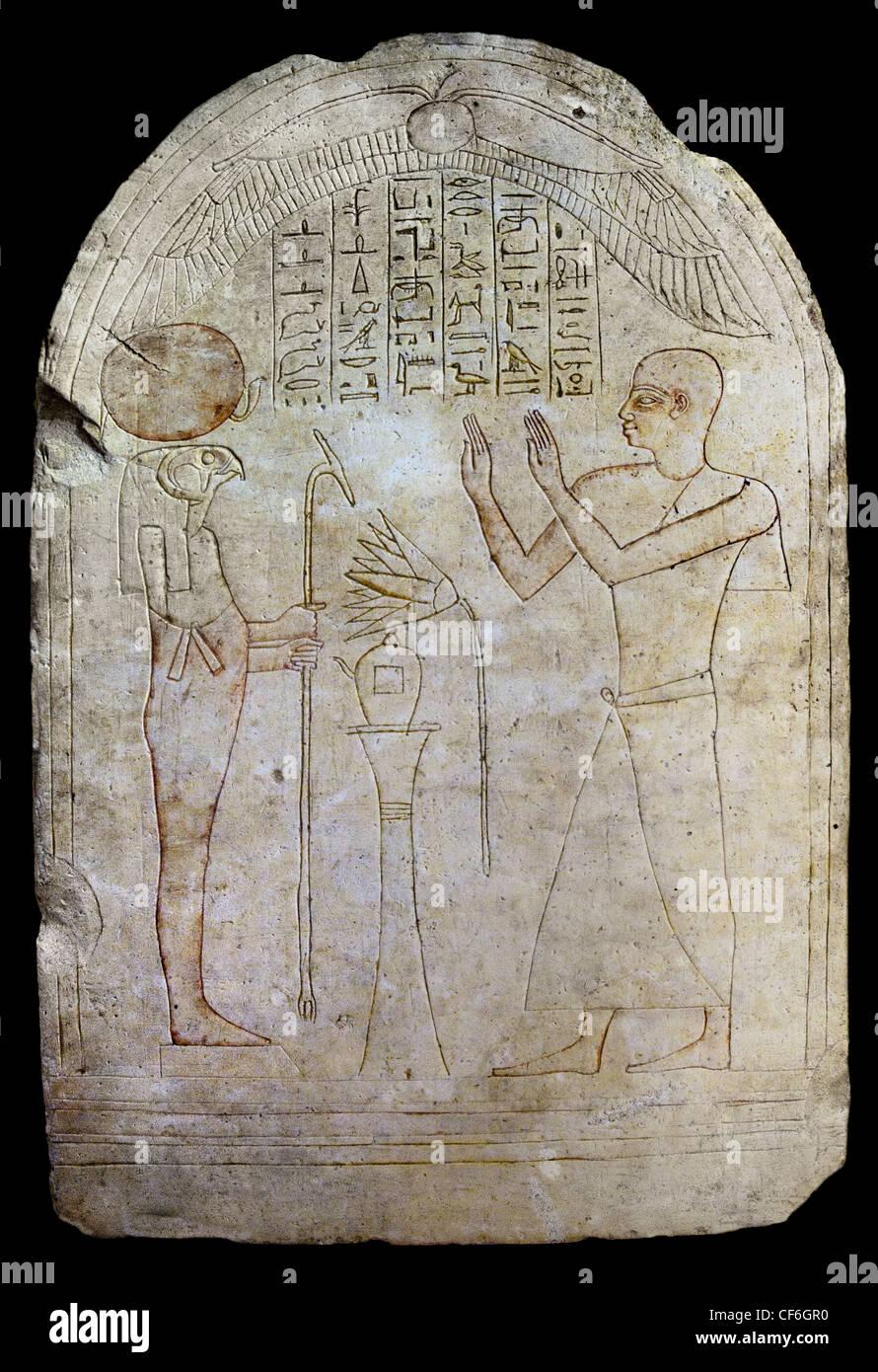 Stele Irtyrtcha priest of Osiris and goldsmith of Amon Ra loves Horakhti  25 - 26 Dynasty 685-525 BC Egypt Egyptian - Stock Image