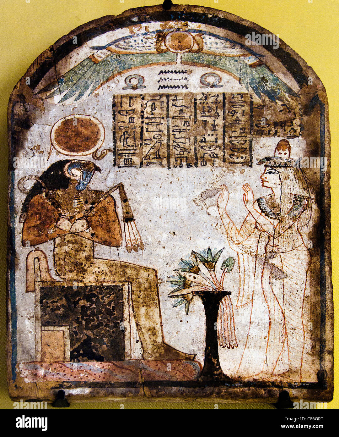 The lady Tachémès pray the god Re Harakhti to 900 BC 22nd Dynasty Painting Egypt Egyptian hieroglyph - Stock Image