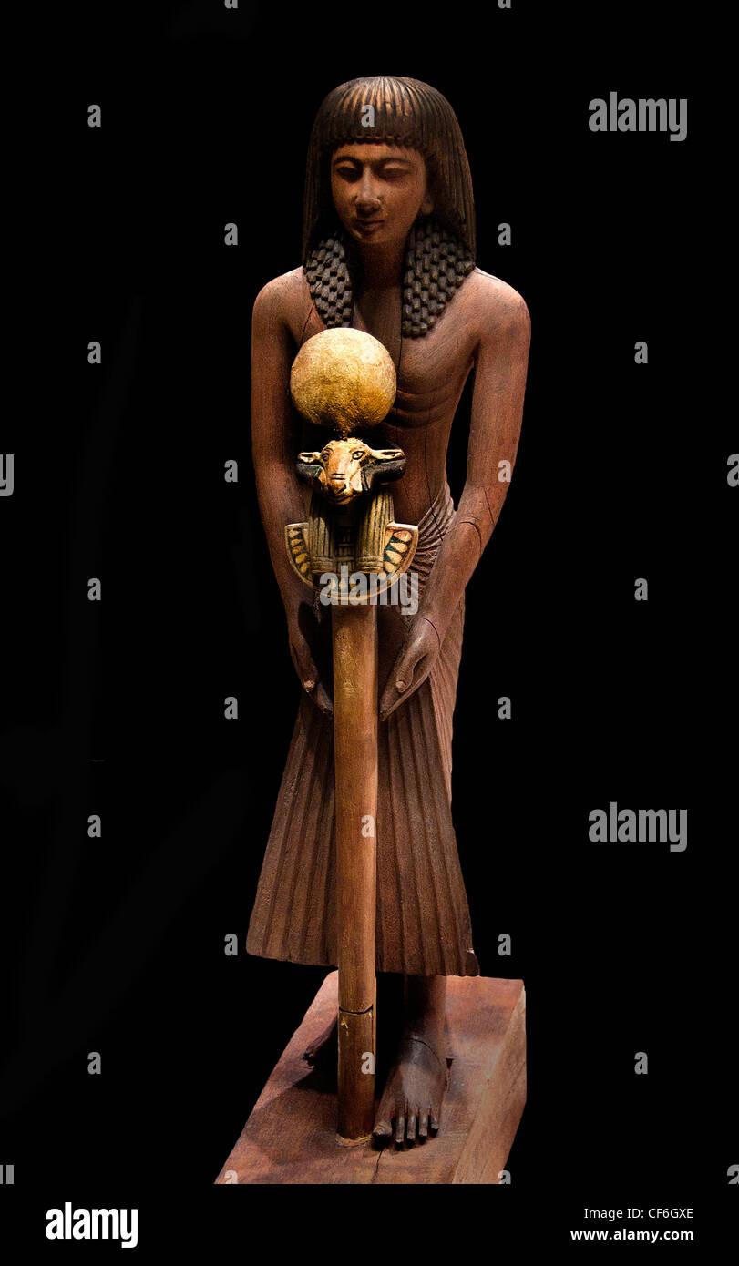 bearer carries a ram's head 1295 - 1069  BC Ramses time  Egypt Egyptian - Stock Image