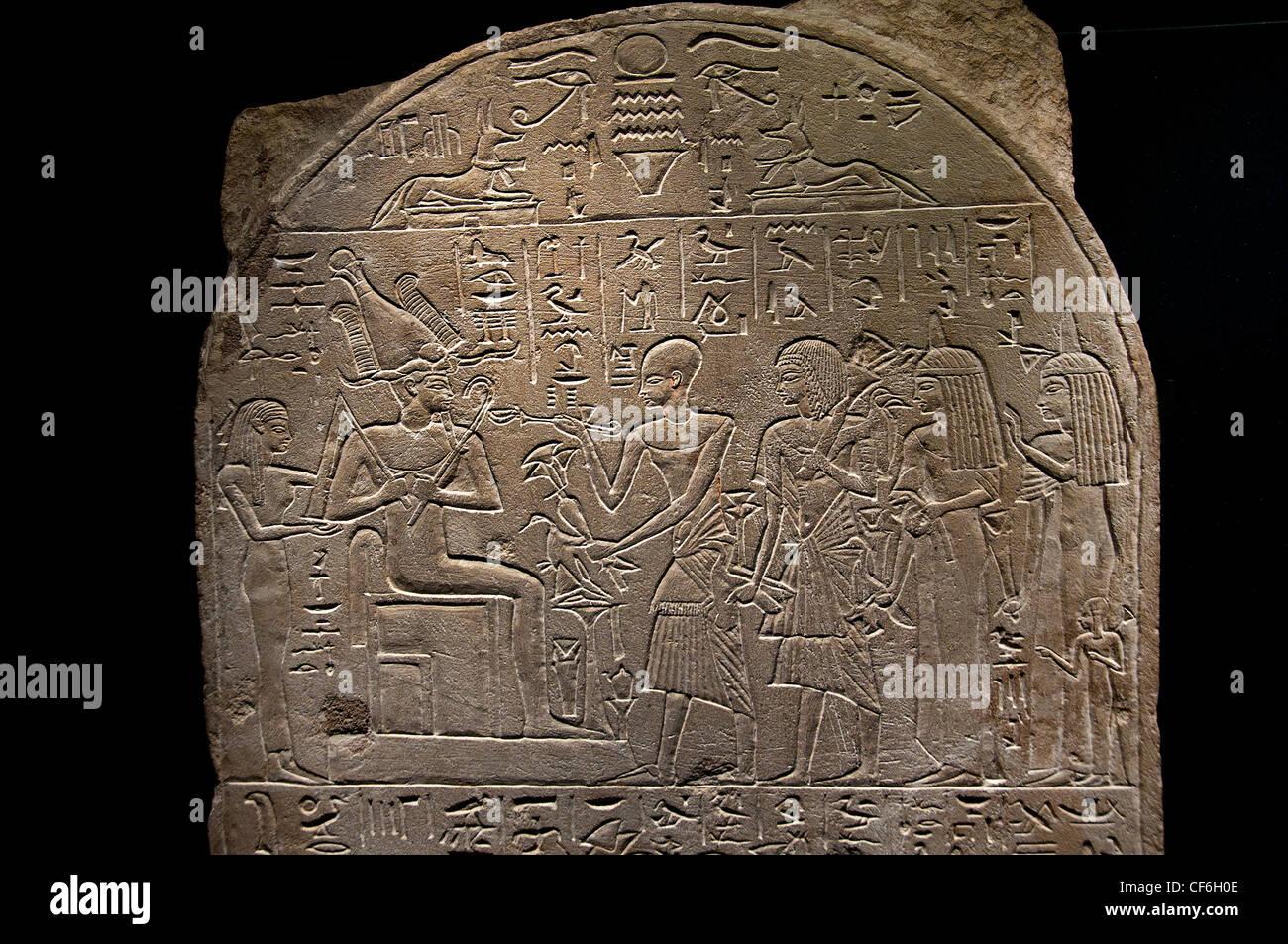 Stele Paser priest of Thoth around 1300 BC limestone Egypt Egyptian hieroglyph - Stock Image