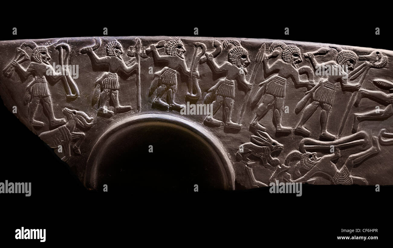 Hunters Palette 3100 BC Abydos Egypt Lion Hunt Palette Ancient Egyptian cosmetic palette  iconography lion hunt - Stock Image