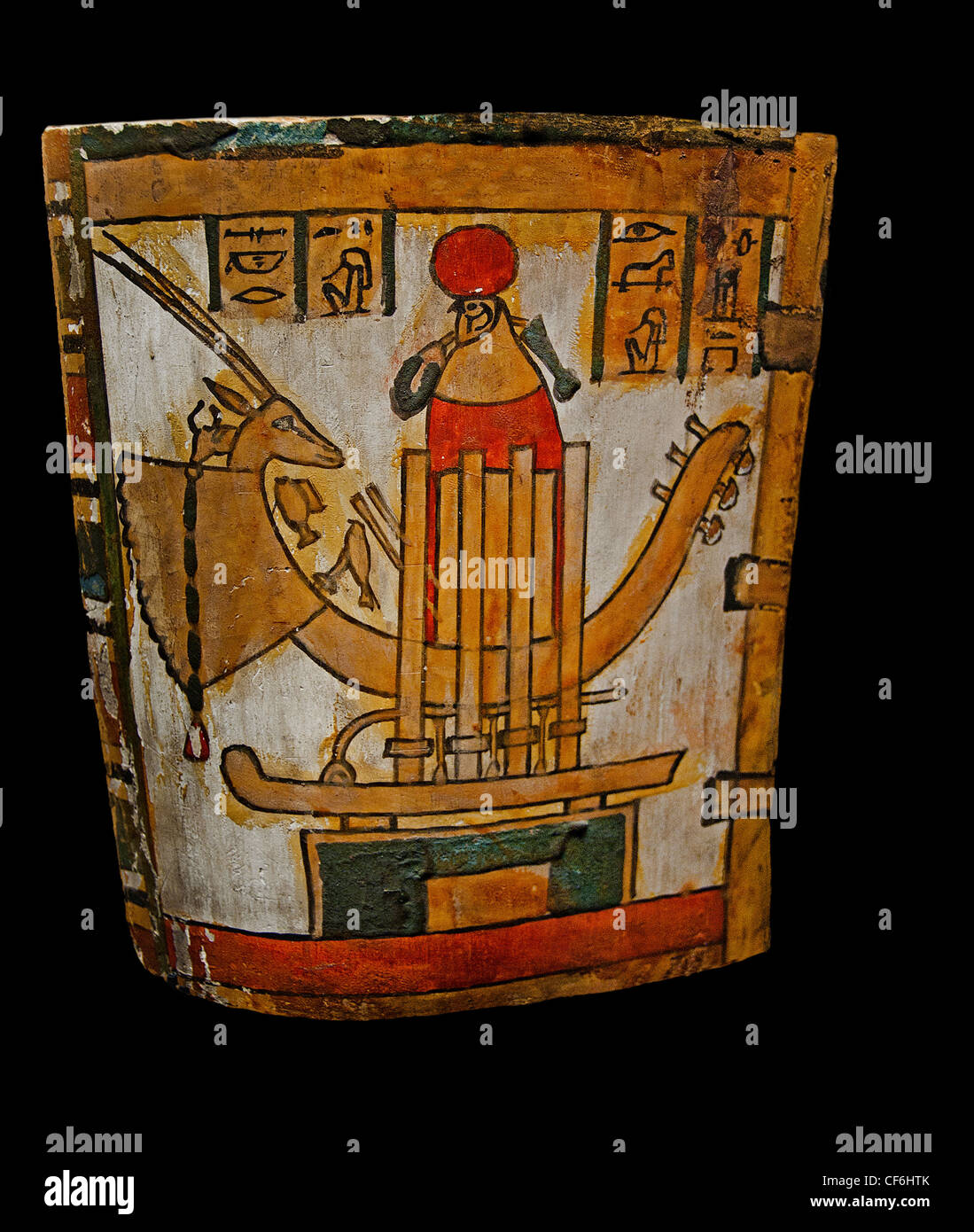 Sokar god of cemeteries in the region of Giza and Memphis Egypt Egyptian sacred boat  head oryx antelope which adorns - Stock Image