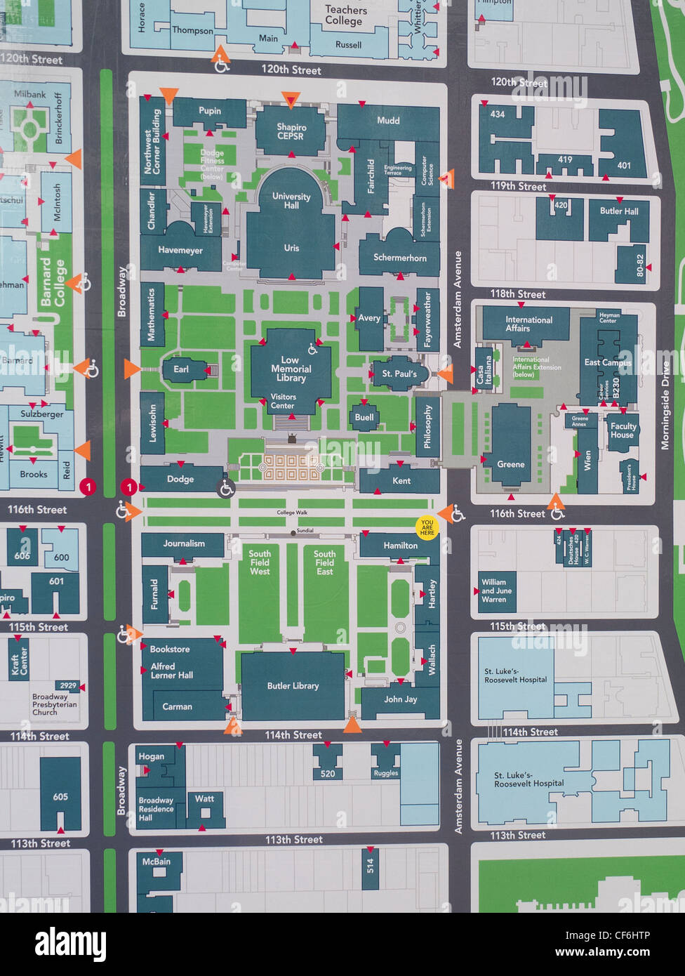 Morningside College Campus Map.Campus Map Of Columbia University Stock Photo 43786310 Alamy