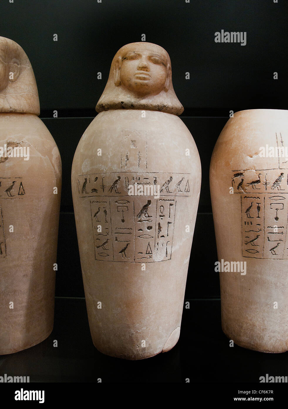 Canopic jars Ty reign of Ramses II 1279 - 1213 BC 19 Dynasty Alabaster Egypt Egyptian - Stock Image