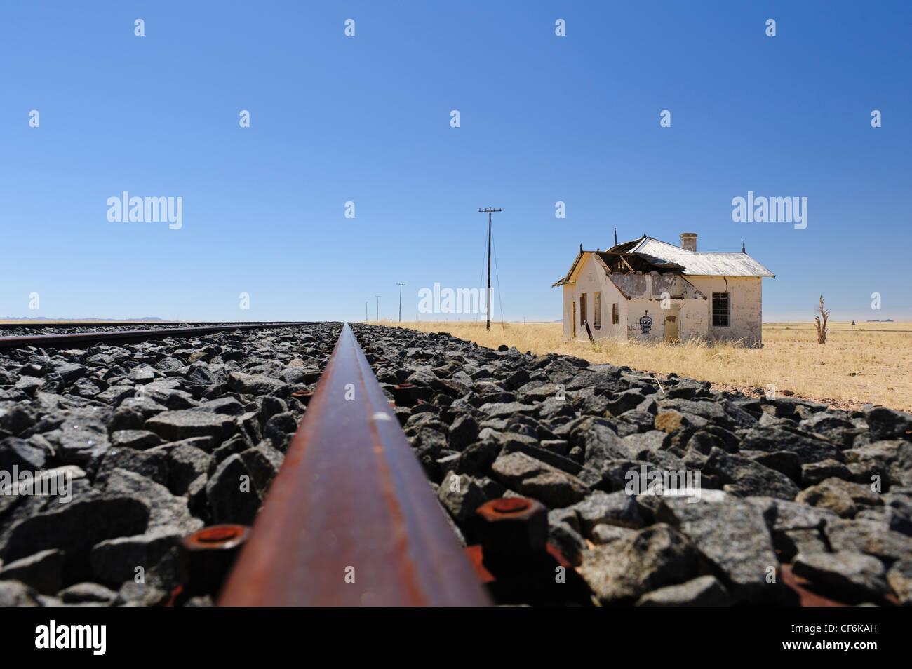 The new 'Aus to Luderitz' railway at the old Garub railway station. Southern Namibia. - Stock Image