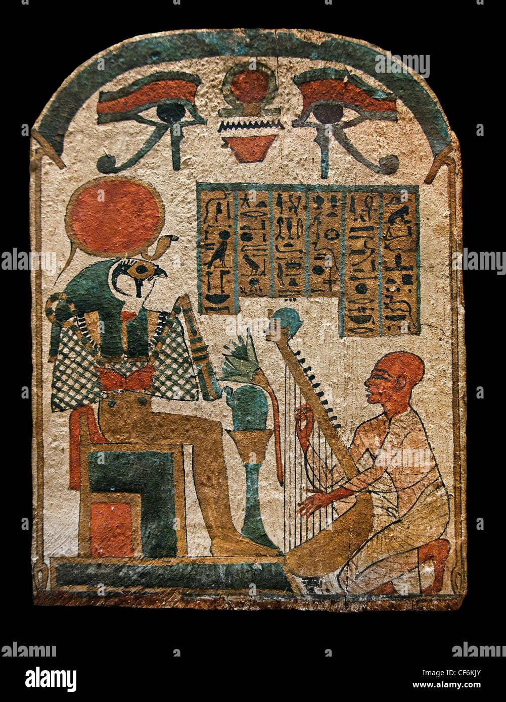 musician Amun - Amon Djedkhonsuiufankh plays the harp before god Re Horakhty 3 Period 1069 - 664 BC Egypt Egyptian - Stock Image