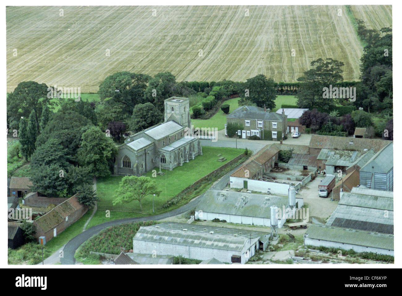Oblique Aerial Photograph Of Part The Village Thorngumbald In East Yorkshire Taken Late Summer