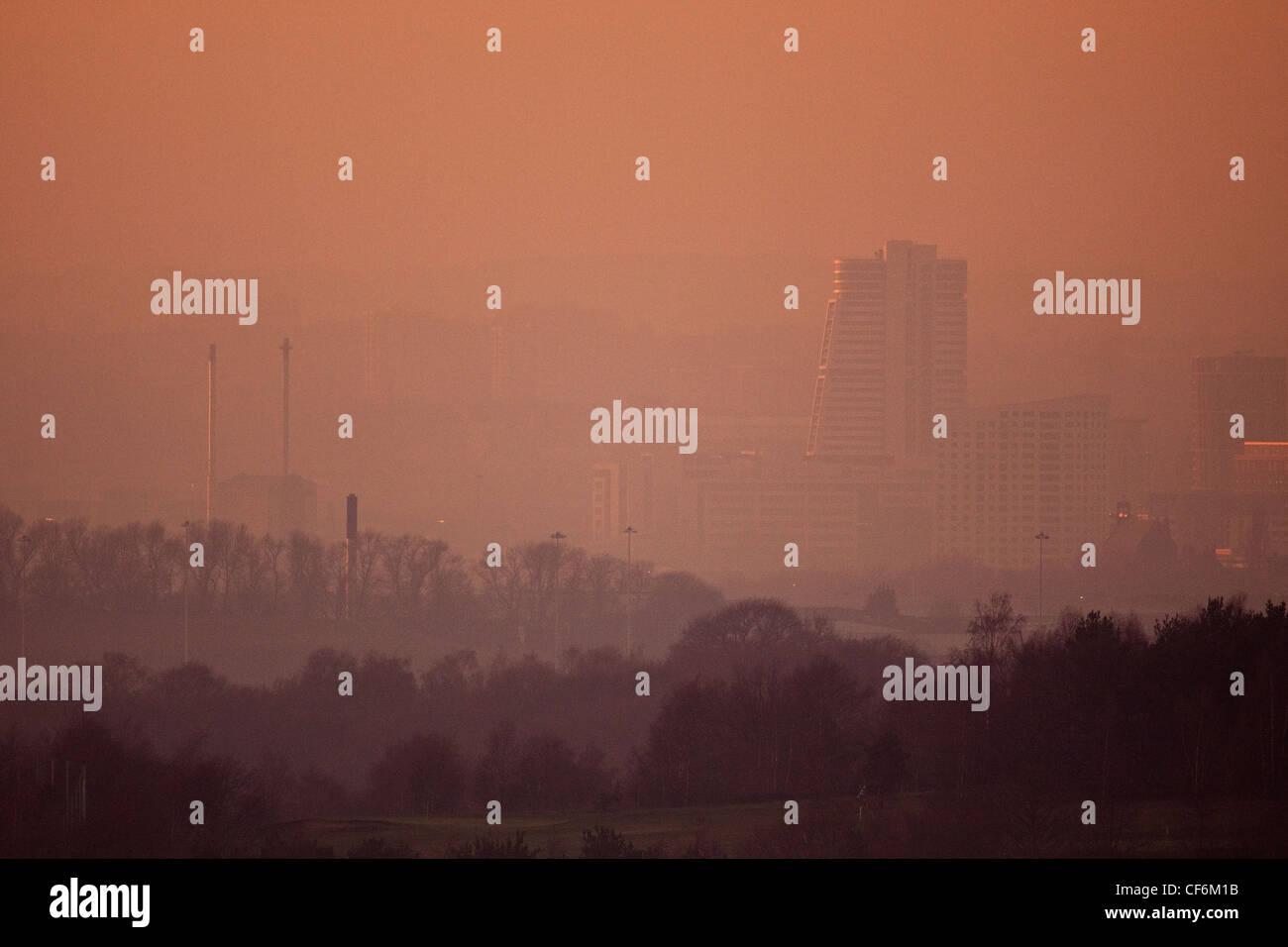 Leeds City Sunset - Stock Image