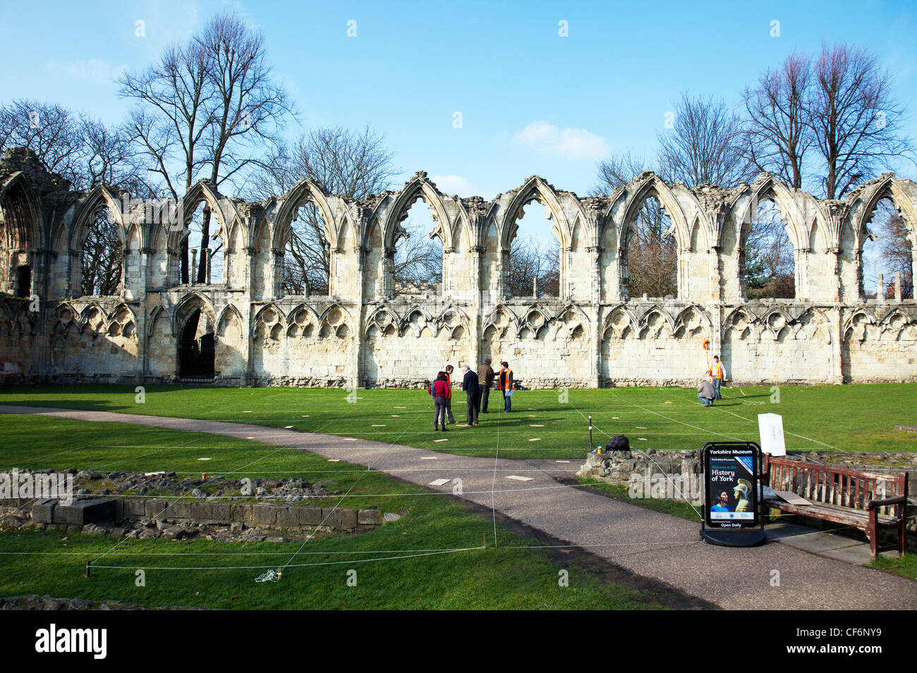 York City, Yorkshire, England old abbey remains of St Mary in York set up as archaeological dig site squares marked - Stock Image