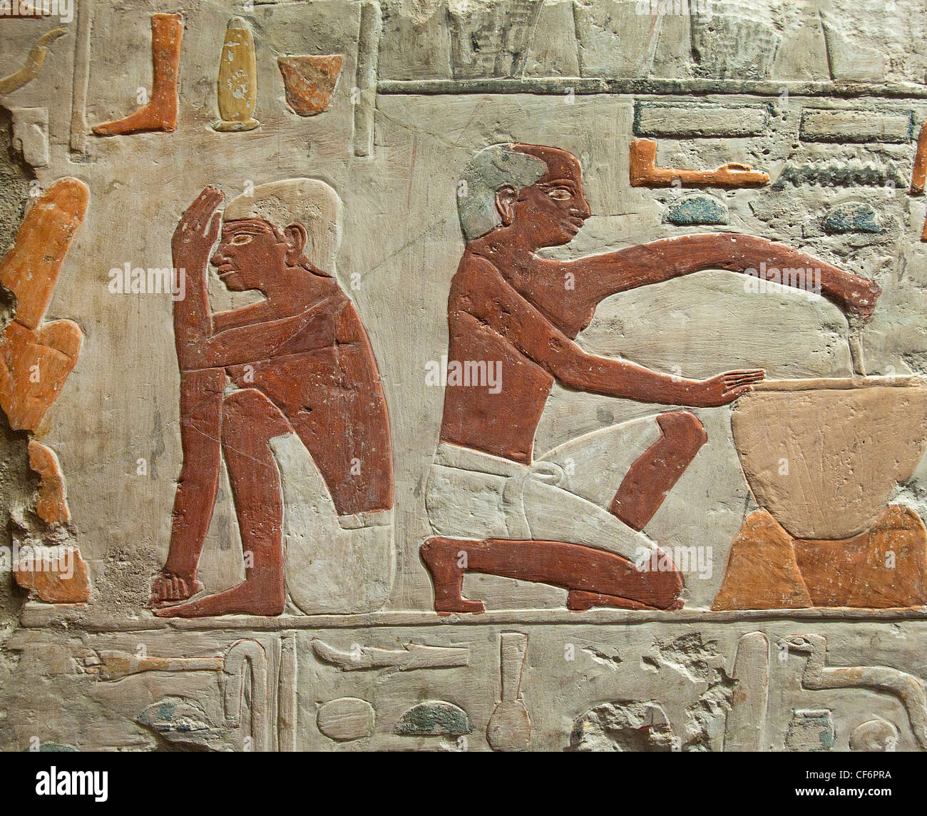 Bakery Manufacturing and baking bread 5 Dynasty 2500-2350 BC Egypt Egyptian hieroglyph - Stock Image