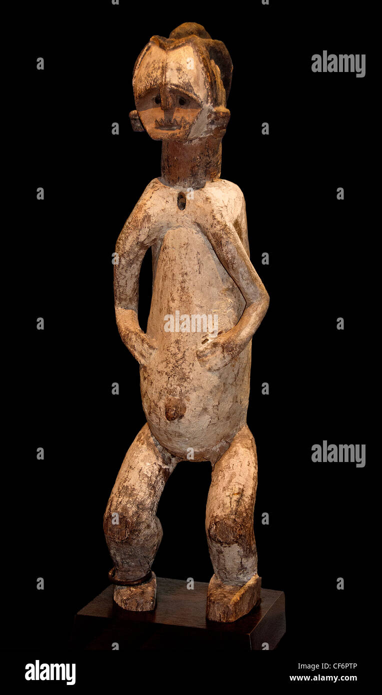 Reliquary Guardian Figure 19 century Gabon Republic of Congo Africa - Stock Image