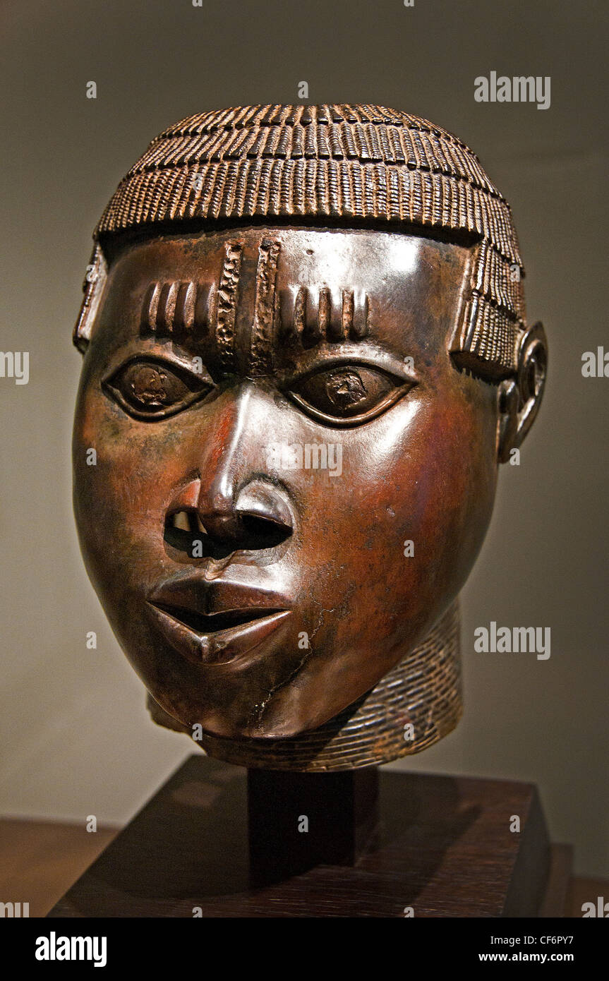 Head of royal Benin 15 - 16 century Nigeria Africa - Stock Image