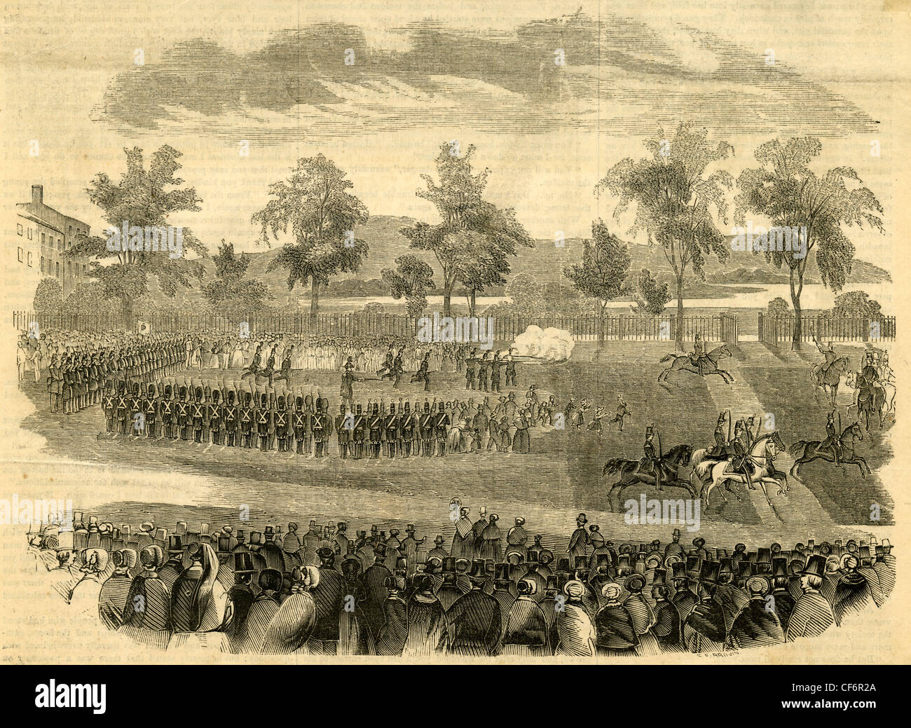 1853 engraving, 'First Battalion of Rifles of West Newbury, on Boston Common.' - Stock Image